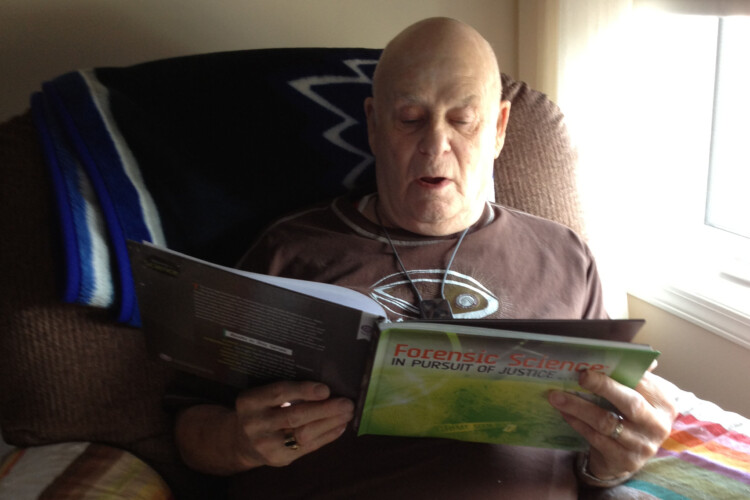 The author's grandfather reads her book