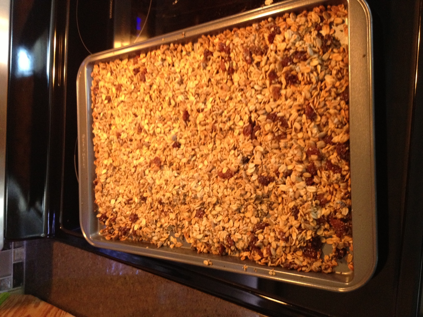 Never make granola on a cookie sheet - that way lies disaster!