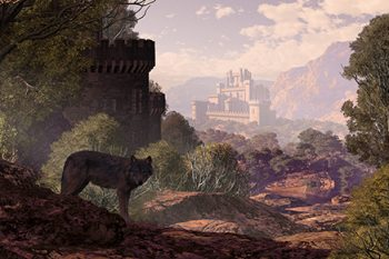 wolf with castle in the background
