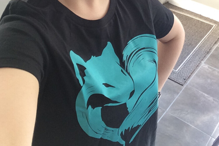Lindsey wears a shirt with a fox on it