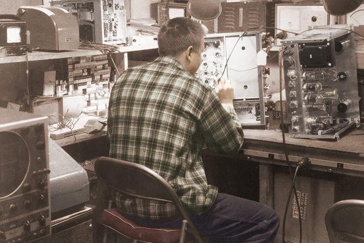Earl Bakken in his workshop