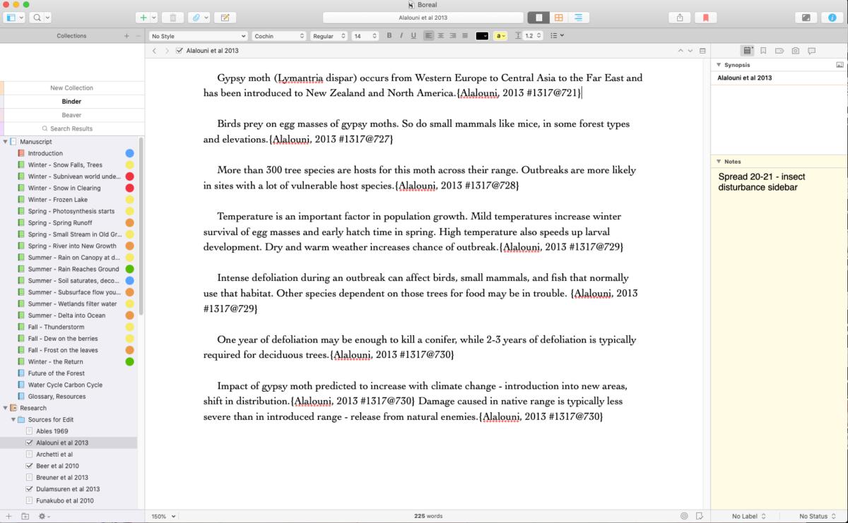 A Scrivener database for nonfiction